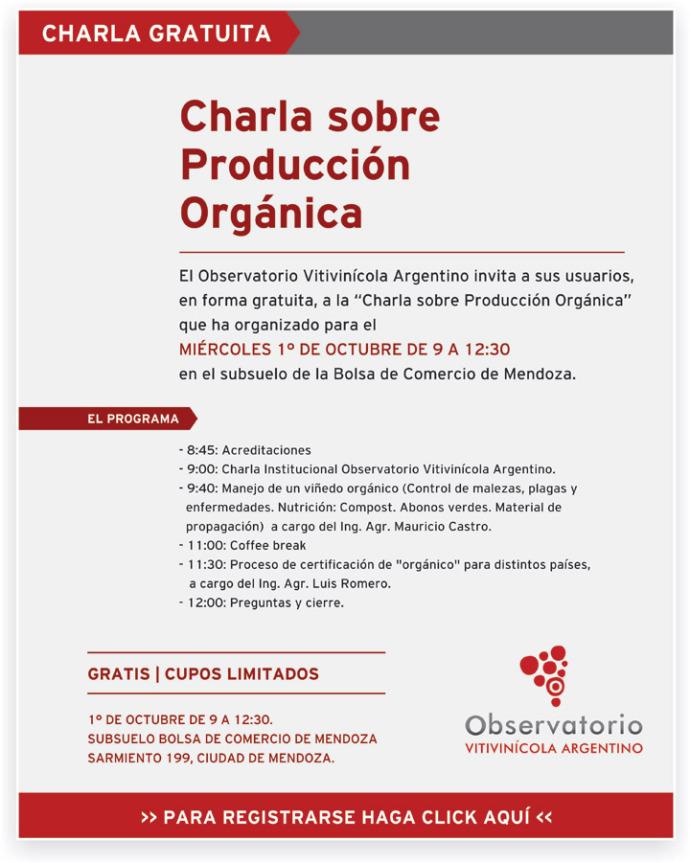 Charla gratuita sobre Producción Orgánica
